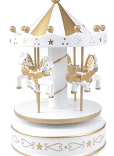 Nostaljik El Yapımı Atlıkarınca Müzik Kutusu Altın Beyaz-Practika